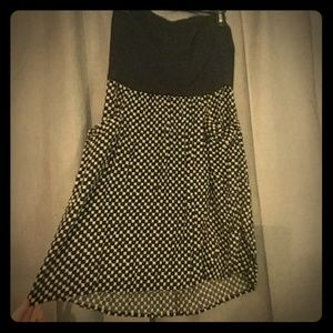 Black and White Strapless Mini Dress, with POCKETS
